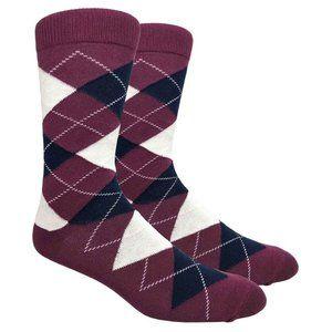 Men's Burgundy Argyle Print Dress Socks
